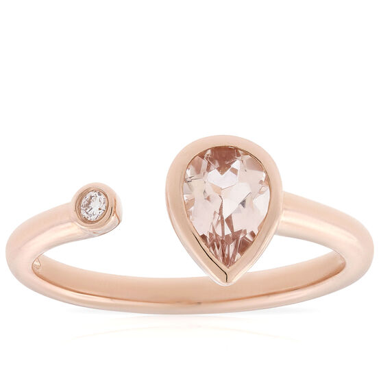 Rose Gold Morganite & Diamond Open Shank Ring 14K