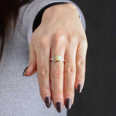 Opal & Diamond Fashion Ring 14K