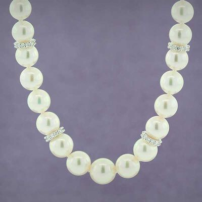"Mikimoto Akoya Cultured Pearl Strand with Diamond Rondelles 18"", 18K"