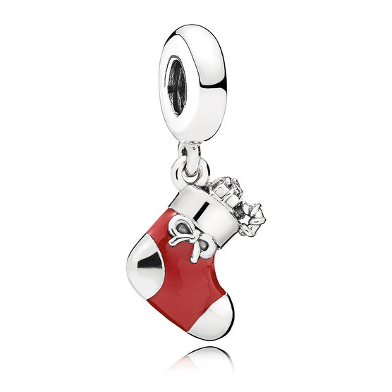 PANDORA Festive Stocking Enamel Dangle Charm