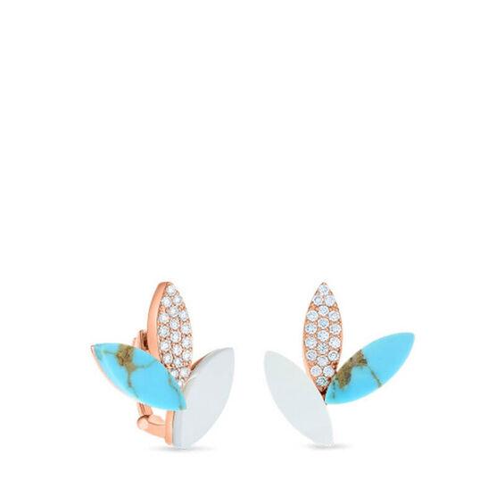 Rose Gold Roberto Coin Petals Gemstone & Diamond Earrings 18K