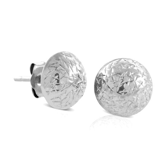 Diamond Cut Stud Ball Earrings 14K