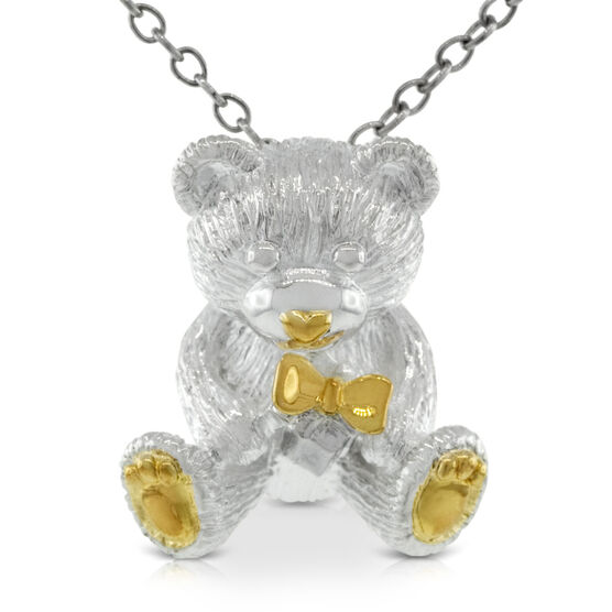 2010 Benny Bear Pendant in Sterling Silver & Gold Rhodium