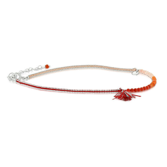 Lisa Bridge Gemstone Bead Anklet, Red Tassel