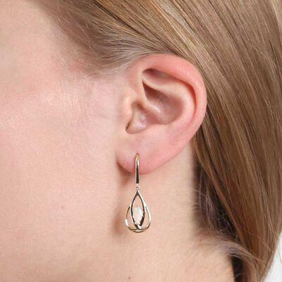 Opal Open Pear Drop Earrings 14K