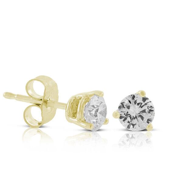 Diamond Solitaire Earrings 14K, 1/2 ctw.