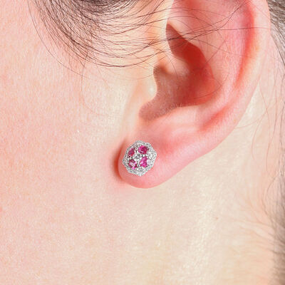 Floral Ruby & Diamond Earrings 14K
