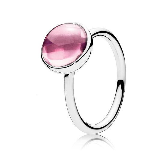 PANDORA Pink Poetic Droplet Ring