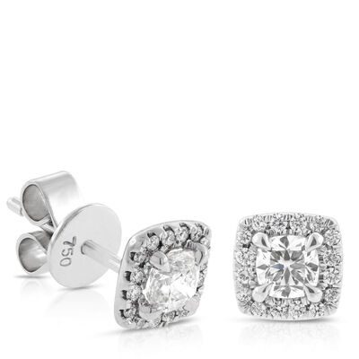 Signature Forevermark Diamond Halo Earrings 18K