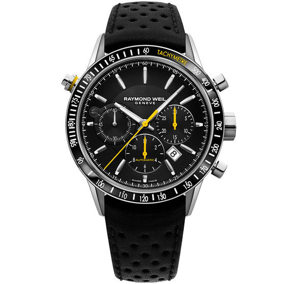 Raymond Weil Black Dial Auto Chrono Freelancer Watch, 43.5mm