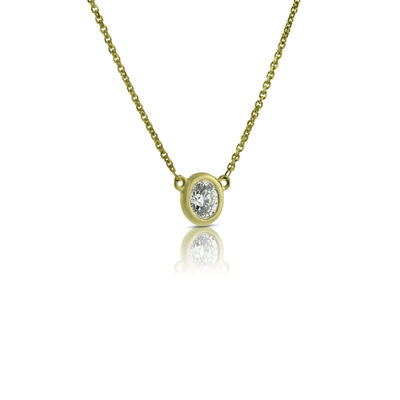 Bezel Set Diamond Necklace 14K