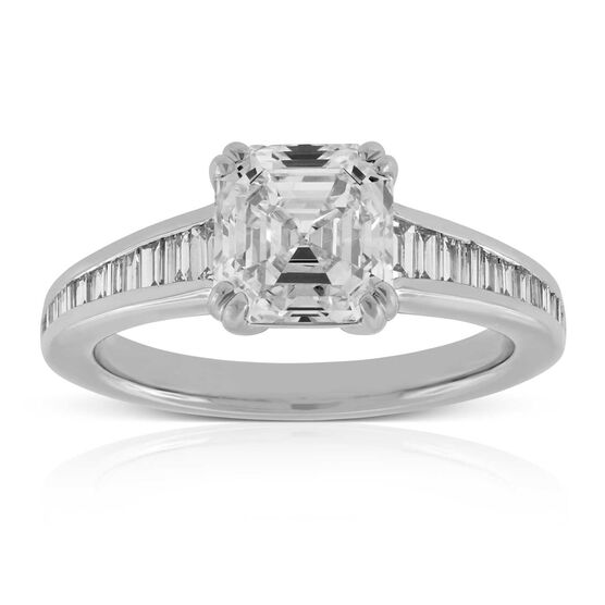 Asscher Cut Engagement Ring in Platinum, 2.12 ct. Center