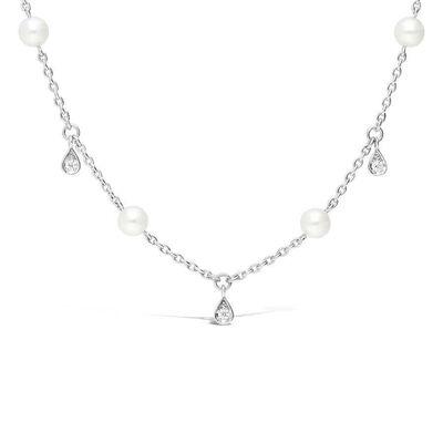Mikimoto Akoya Cultured Pearl & Diamond Teardrop Necklace 18K