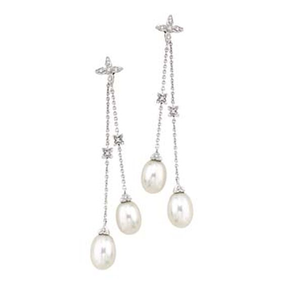 Freshwater Cultured Pearl & Diamond Earrings 14K