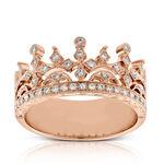 Rose Gold Diamond Crown Ring 14K