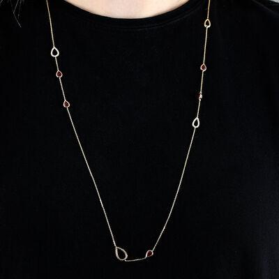 """Ruby & Diamond Pear Station Necklace 14K, 32"""""""