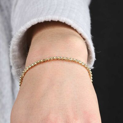 Sparkly Moon Cut Bead Bracelet 14K