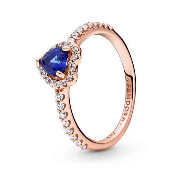 Pandora Rose™ Sparkling Blue Elevated Heart Crystal & CZ Ring