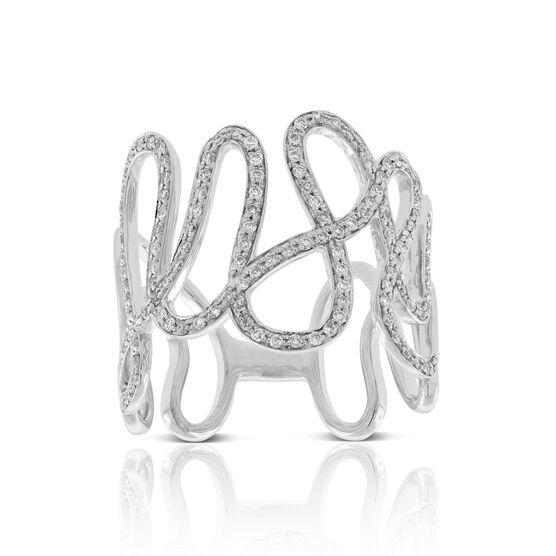 Open Squiggle Diamond Ring 14K