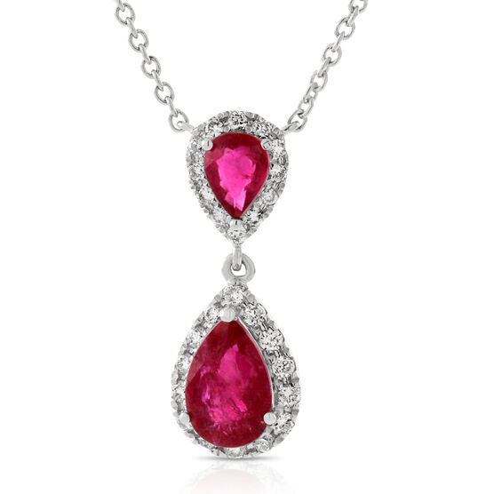 Pear Shaped Ruby & Diamond Necklace 14K