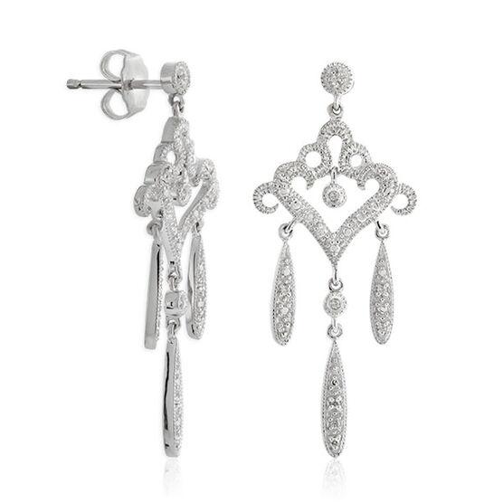 Diamond Chandelier Earrings in Sterling Silver