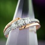 Rose Gold Diamond 3-Stone Ring 14K