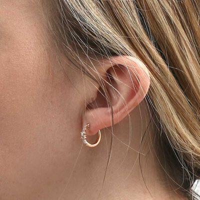 Rose Gold Scattered Baguette & Round Diamond Hoop Earrings 14K