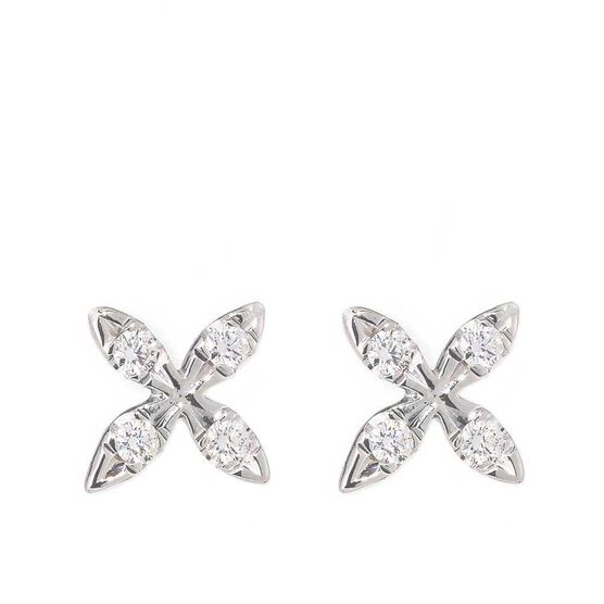 "Roberto Coin Tiny Treasures Diamond ""X"" Earrings 18K"