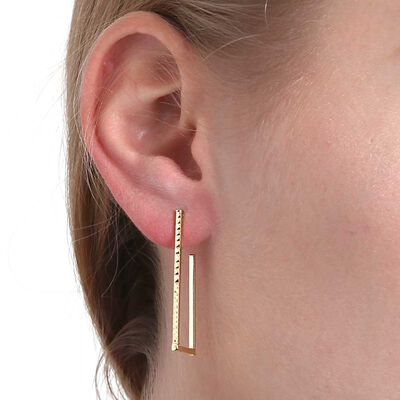Rectangular Hoop Earrings 14K