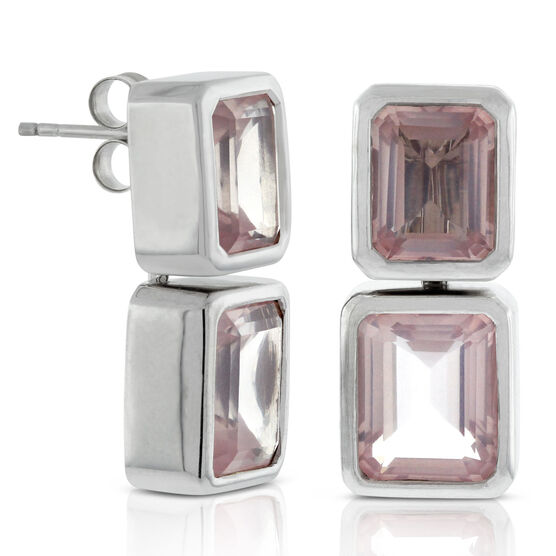 Lisa Bridge Convertible Rose Quartz Earrings