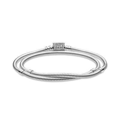 Pandora Moments Double Wrap CZ Barrel Clasp Snake Chain Bracelet