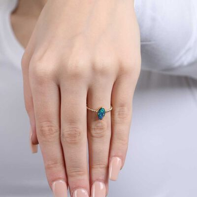 Free-form Opal Doublet Beaded Shank Ring 14K