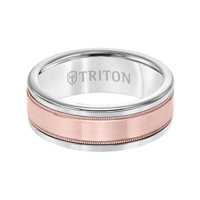 Rose Gold TRITON Custom Comfort Fit Milgrain Edge Band in White Tungsten & 14K, 6 mm