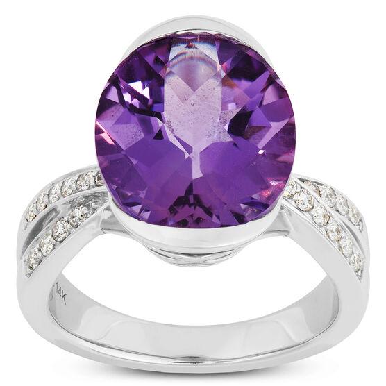 Oval Amethyst & Diamond Ring 14K