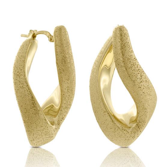 Sculpted Hoop Earrings, 18K over Sterling Silver