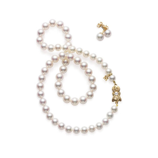 Mikimoto Akoya Cultured Pearl Strand & Earring Set, 18k