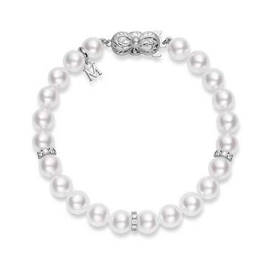 Mikimoto Akoya Cultured Pearl & Diamond Rondelles Bracelet 18K