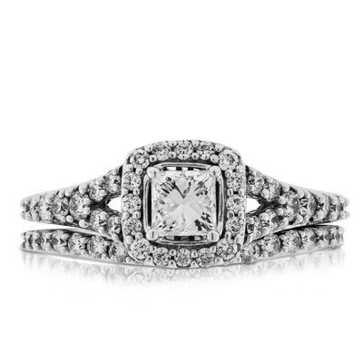 Princess Cut Diamond Halo Wedding Set 14K