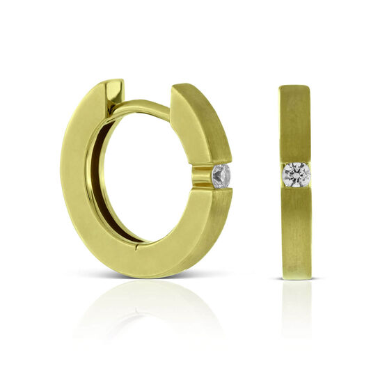 Diamond Huggie Hoop Earrings 14K