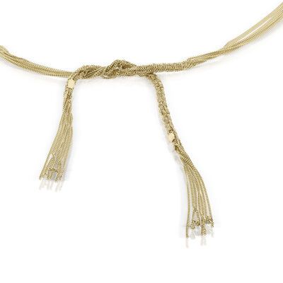 Toscano Multi-Strand Tassel Scarf Necklace 14K