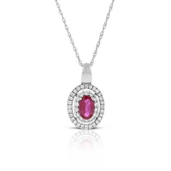 Oval Ruby & Diamond Pendant 14K | Tuggl