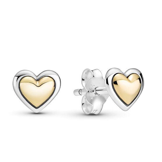 Pandora Domed Golden Heart Stud Earrings, 14K & Silver