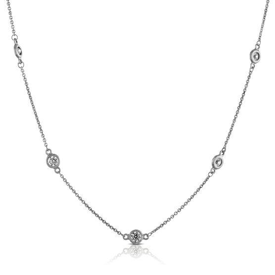 """Diamond Station Necklace, 18"""" 14K"""
