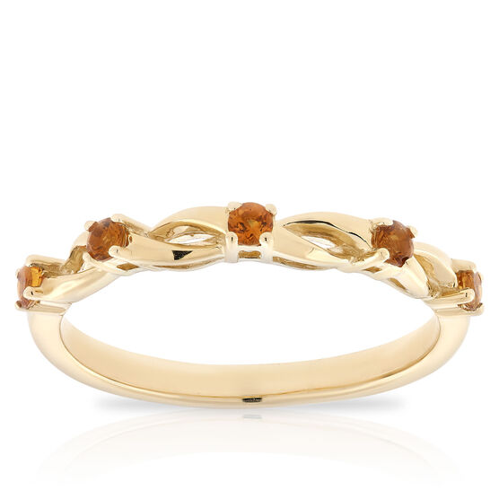 Citrine Open Twist Band 14K