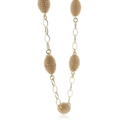 Toscano Link Necklace With Textured Beads 18K
