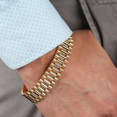 "Toscano Presidential Link Bracelet, 8.5"" , 14K"