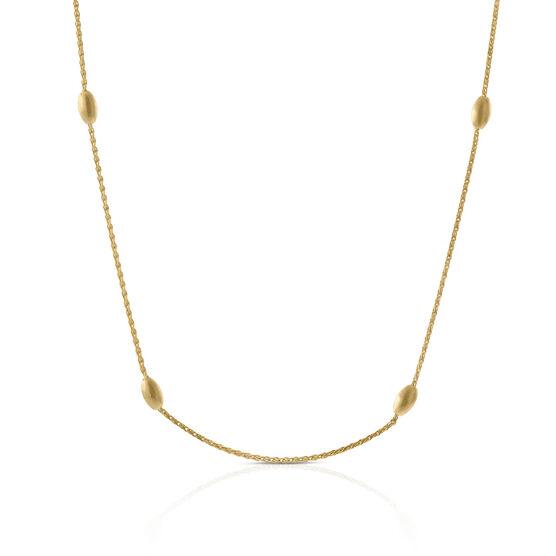 Satin Bead Station Necklace 14K