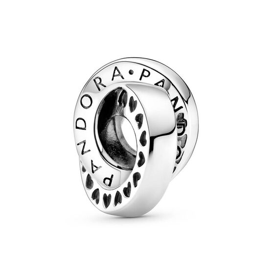 Pandora Logo & Heart Bands Spacer Charm