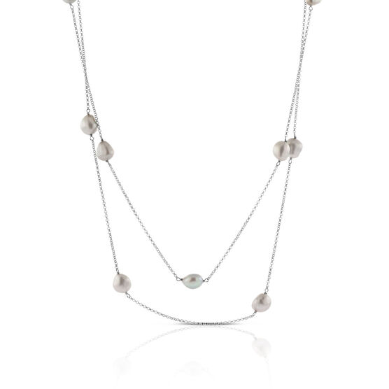 """Dyed Freshwater Cultured Pearl Necklace, 50"""" in Silver"""