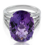 Oval Amethyst & Diamond Ring 14K